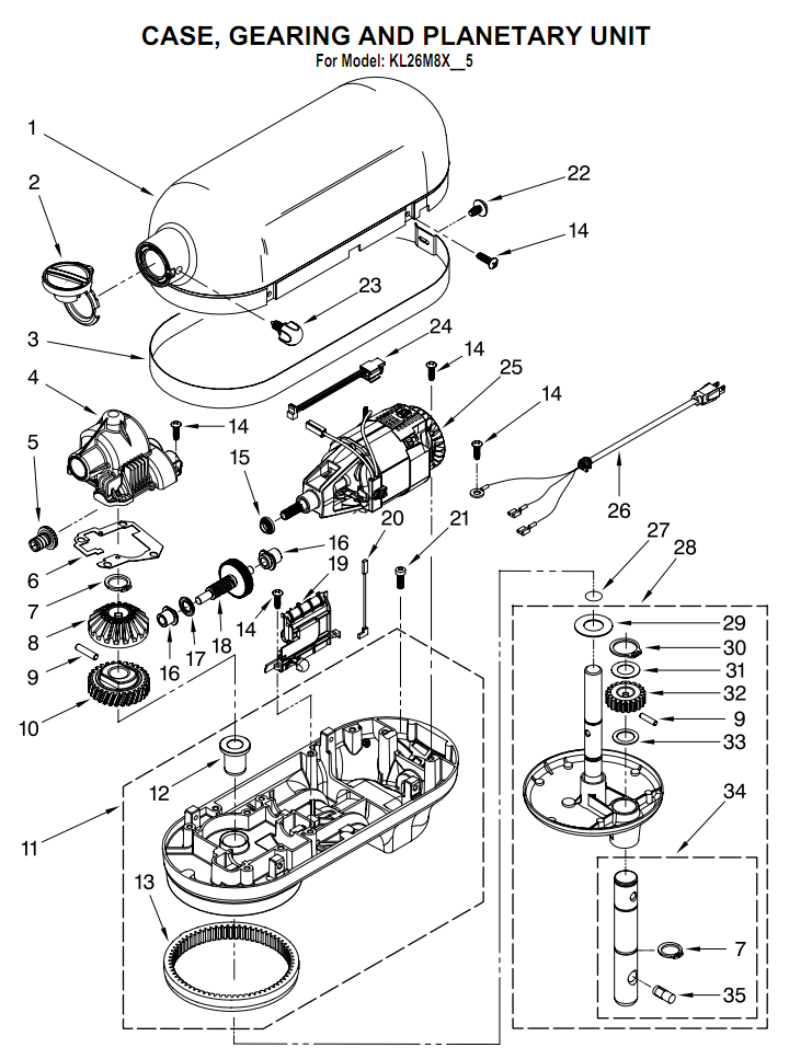 kitchenaid k45sswh parts list and diagram